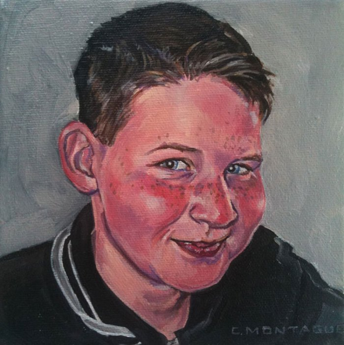 Portrait Painting of a 10 year old boy. LittlePortraitPaintings.com Coptright Christine Montague