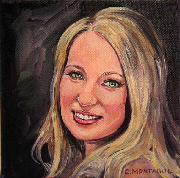 "No. 15 of 100 Little Portrait Paintings. ""A Young Woman"" Copyright Christine Montague"