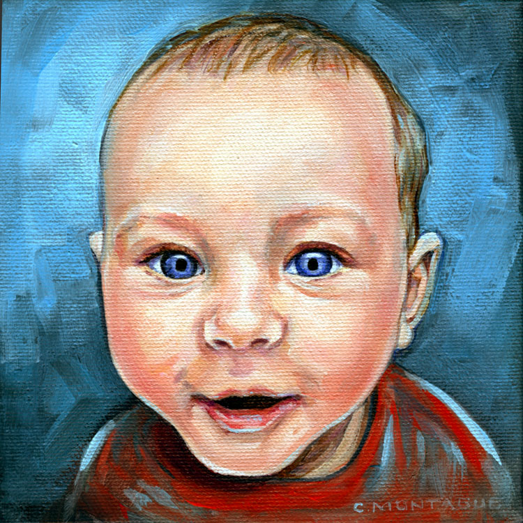 new little portrait painting a bright little baby face