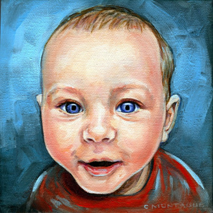 "Portrait oil painting of a baby boy. 6"" 6"" Copyright Christine Montague"