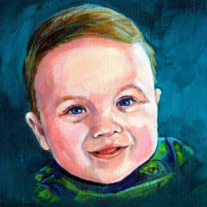 "Portrait of a beautiful baby boy who is a twin. 6"" x 6"" oil painting on canvas copyright Christine Montague"